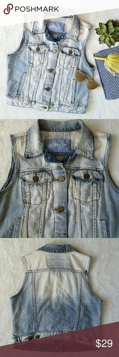 """Gap 1969 Destructed Light Wash Denim/Jean Vest Gap 1969 destructed light wash denim vest. Worn out look. Size medium. Pit to pit is 18.5"""" flat and shoulder to hem is 19"""". Last photo is similar cut vest from Gap for you to get the idea on how it would fit. In good pre-loved condition. GAP Jackets & Coats Vests"""