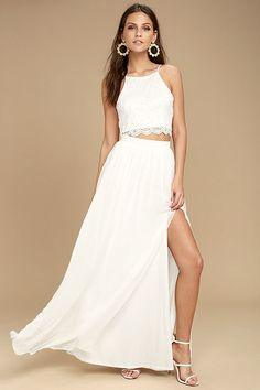 f759d0ae3ca Midnight Memories White Lace Two-Piece Maxi Beach Wedding Dress - Sexy  floral lace shapes a wide-cut