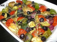 Italiaans gegrilde groenten uit de oven Italian Pasta Recipes, Main Meals, Fruit Salad, Vegetable Pizza, Side Dishes, Veggies, Low Carb, Potatoes, Chicken