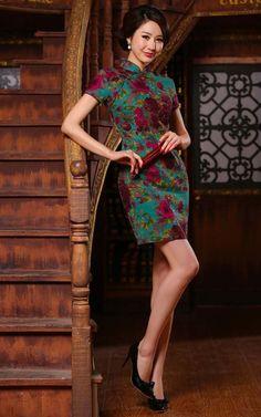 aa3180d95b5eb1 Burgundy red floral dark green linen qipao short Chinese mandarin collar  dress ZAYS-315-55-005