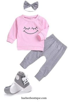 This sweet smiley face is printed on a long-sleeve shirt and paired with coordinating leggings and matching headband. Leg Cuffs, Everything Baby, Cute Baby Clothes, Toddler Outfits, New Moms, Smiley, Tween, Danish, Cute Babies