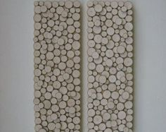 Rustic Wood Wall Art Sculpture Art -Abstract Cabin Art  Set of Two 12x36 Inch Panels wood slice tree rings Made to Order