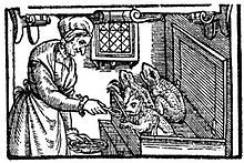 late 16th century illustration of a witch feeding her familiars from England.  A number of historians believe that the familiar spirit is a pre-christian idea