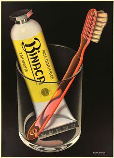 1941 Binaca Pate Dentifrice, Zahnpaste, Swiss Toothpaste vintage advert poster