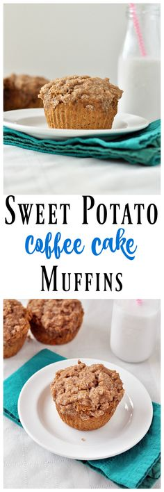 sweet potato coffee cake muffins. Ingredients: oat flour, baking soda & powder, cinnamon, ginger, nutmeg, sweet potato, almond milk, flax eggs, maple syrup. Topping: add coconut sugar & oil