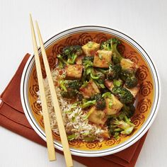 Chipotle peppers add kick to this tofu and broccoli stir-fry recipe. If you're shy about spice, cut back on the amount or leave them out completely. Serve over brown basmati rice.