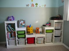kids toy storage with 2 ikea trofast systems.