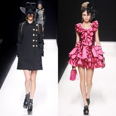 Moschino @ Milan Fashion Week 2012  *The pink ruffled dress is adorable!*