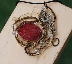Flying Dragon Red Titanium Coated Druzy Geode Agate Wire Wrap Artisan Necklace #Jeanninehandmade #Pendant