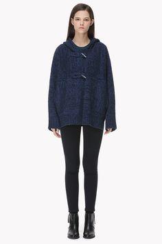 Wool blend knit short duffle coat