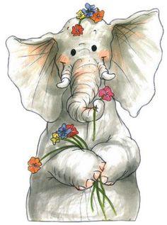 Image Elephant, Elephant Love, Elephant Art, Elephant Illustration, Cute Illustration, Watercolor Animals, Watercolor Art, Animal Drawings, Cute Drawings