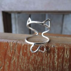 Sterling Silver Cat Ring -  Ears and Tail Adjustable - Sterling Silver 925 - Made to Order