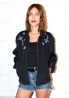 Embellished: Alexa dressed her rock chic look up with floral embellished black…