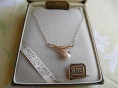 Krementz Necklace w/Cultured Pearl & Genuine Ruby NIB Great Gift!