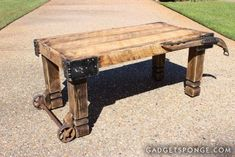 Horse Hame and Caster Barn Wood Coffee Table - JUNKMARKET Style