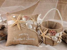 coral flower girl dress with seashells   Flower Girl Basket & Ring Bearer Pillow Set - Rustic Flower Girl Set ...