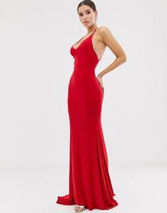 Lång klänning med korsade axelband, röd