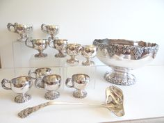 """Webster Wilcox International Silver """"Vintage"""" 14 Piece Silverplate Punch Bowl Set w/ 12 Footed Handled Punch Cups & Ladle - 8 Qt Punch Bowl by SecondWindShop on Etsy"""