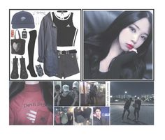 """""""   Xuiying    Airport fashion    ( 1 / 5 )    { insert bts lyrics }"""" by the-demon-in-me ❤ liked on Polyvore featuring adidas, Versace, Urban Outfitters, TALLY WEiJL and RIPNDIP"""