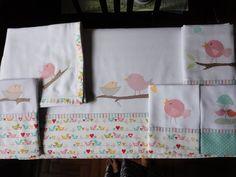Enxoval de bebe - Kit passarinhos, toalha fralda, fralda de ombro, babeiro, lençol de carrinho ou mini berço e fronha: