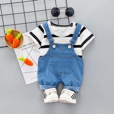 Baby / Toddler Striped Top and Pocket Design Denim Suspender Shorts Set Newborn Boy Clothes, Trendy Baby Clothes, Baby Kids Clothes, Baby Outfits Newborn, Baby Boy Dress, Cute Baby Boy Outfits, Baby Suit, Kids Outfits, Baby Girl Fashion