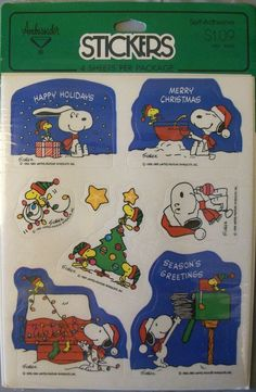Ambassador Hallmark Peanuts Snoopy Woodstock Christmas Stickers New 4 Sheets