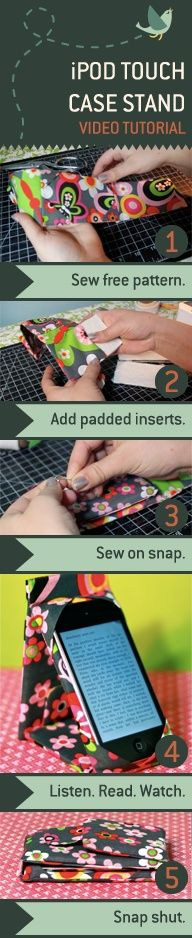 Make a combination Case Stand for your iPod Touch or iPhone. Or use the formula to adapt the pattern for your e-reader or iPad. It's padded to protect your device, snaps shut like a wallet, and stands on its own! - Click image to find more DIY & Crafts Pinterest pins