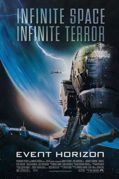 Event Horizon is a 1997 British-American science fiction horror film. The screenplay was written by Philip Eisner, with an uncredited rewrite by Andrew Kevin Walker, and directed by Paul W. The film stars Laurence Fishburne and Sam Neill. Sci Fi Horror Movies, Horror Movie Posters, Scary Movies, Good Movies, Science Fiction, Fiction Movies, Event Horizon Film, Brooklyn Nine, Image Internet