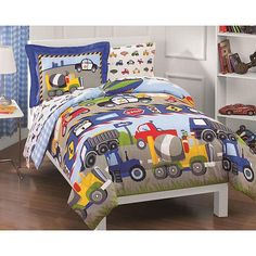 This five-piece twin-sized bed in a bag will add a fun design to your childs bedroom. Trucks and tractor enthusiasts will love the vehicle print. This perfectly coordinated set includes a comforter, flat sheet, sham, fitted sheet, and pillowcase.