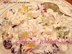 Ambrosia Waldorf Salad - (cranberries, grapes, apples, pineapple, coconut...)