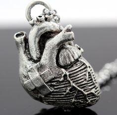 Broken Heart Anatomical Heart Necklace in by BlueBayerDesignNYC