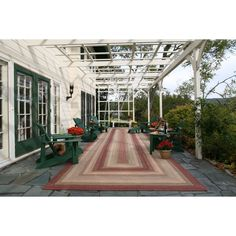 Stunning Braided Rug Feats French Window And Cool Green Wooden Outdoor Chairs Also Huge White Pergola Outdoor Carpet, Indoor Outdoor Rugs, Outdoor Rooms, Outdoor Chairs, Outdoor Living, Adirondack Chairs, Metal Pergola, Pergola Kits, Teak