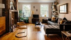 Cozy Brooklyn living room with fireplace