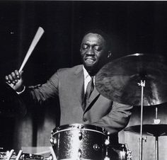 Art Blakey in performance with the Jazz Messengers in Amsterdam, Holland on February 3, 1962. Photo by Ben Meerendonk.