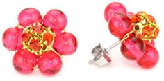 """Lenora Dame """"Romantic"""" Girl Next Door Post Earrings in Fuschia Lenora Dame. $45.00. Hand made in Pennsylvania- handle with care. Do not expose to water or chemicals. Made in United States. Vintage inspired classic design. Fossil bead flower with crystal center"""