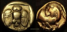 Owl and Goat. one of few known. Exceptional rare. Ancient Greek gold coin.Lesbos