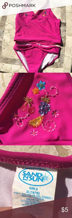Pink beaded tankini Cute kids pink tankini with fruit designs.                    *not Justice. Labeled for exposure Justice Swim