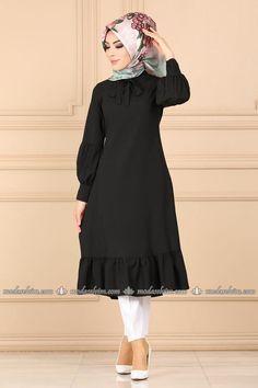 Modaselvim TUNİK Eteği Fırfırlı Tesettür Tunik 7006BM387 Siyah The Dress, High Neck Dress, Mode Hijab, Indigo, Ballet Skirt, Skirts, Dresses, Fashion, Turtleneck Dress