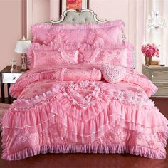 Lace Bedding Sets Duvet Cover Silk Cotton Lovely Warm Soft Bedroom Home Textiles