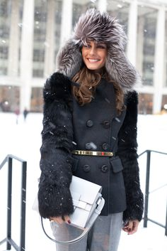 A very cozy looking @Olivia Palermo! #NYFW13 #mbfw