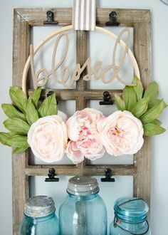 Make GORGEOUS DIY Floral Embroidery Hoop Wreaths! These modern wreaths are easy to make and look simply stunning. Perfect for decor, front door, weddings. Wreath Crafts, Diy Wreath, Tulle Wreath, Wreath Ideas, Diy Projects To Try, Craft Projects, Craft Ideas, Project Ideas, Embroidery Hoop Crafts
