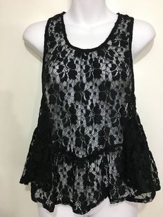 89d3d1929f652 Olivaceous Womens M Black Lace Sleeveless Flirty Top Cami Teddy Razorback