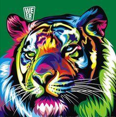 Image result for lukisan harimau seni pop