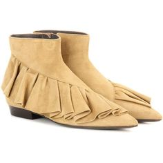 J.W.Anderson Ruffle Suede Boots (1 490 BGN) ❤ liked on Polyvore featuring shoes, boots, ankle shoes, beige, ruffle shoes, j.w.anderson shoes, beige shoes, suede boots and ruffle boots
