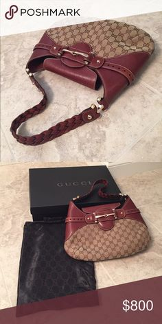 Authentic GUCCI by Tom Ford (additional photos) Authentic GUCCI by Tom Ford logo bag! Brown GG pattern on cloth with brown leather and silver accents! Simply stunning! Gently loved, in excellent condition! Slight wear as shown on back of bag. This bag is a statement piece!! Braided leather shoulder strap with a leather flap closure and a single zip inside pocket on the lined interior. Dust bag and box included. Gucci Bags Shoulder Bags