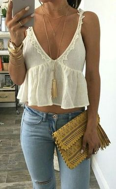 #summer #outfits / v neck gypsy top