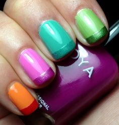 Shiny nail colors with matching matte glitter tips