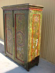 Danish Antique Pine Armoire Wardrobe Antique Closet Cabinet