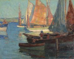 """Breton Fishing Boats,"" Edgar Payne, oil on canvas, 16¼ x 20 1/8"", private collection."