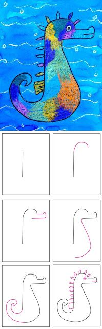 How to draw a seahorse - Most Pinned Drawing Projects | Art Projects for Kids